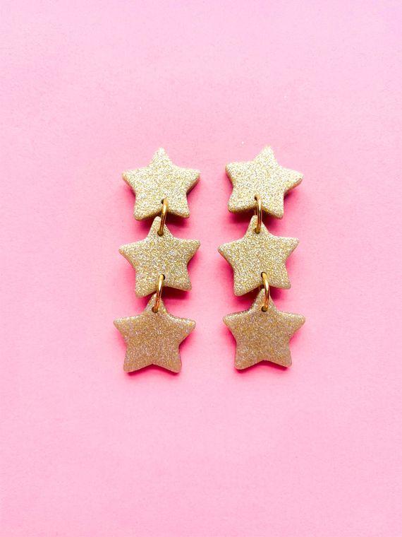 Wildflower Clay Earrings- 3 drop Baby Penelope in Gold