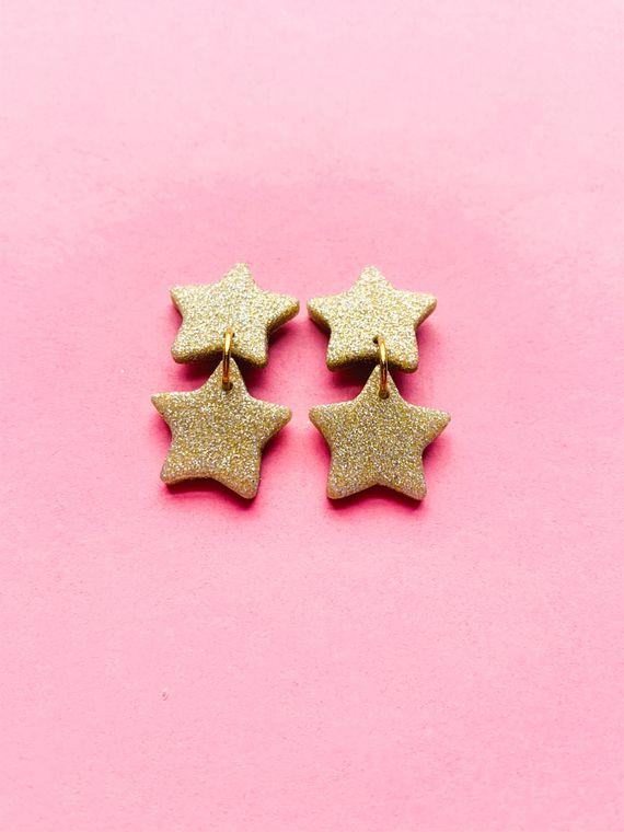 Wildflower Clay Earrings- 2 drop Baby Penelope in Gold