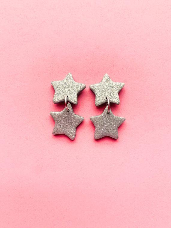 Wildflower Clay Earrings- 2 drop Baby Penelope in Silver