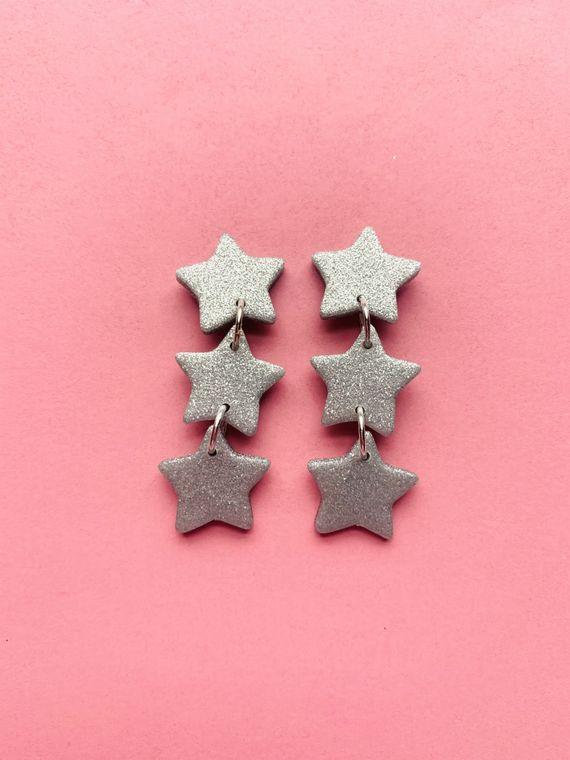 Wildflower Clay Earrings- 3 drop Baby Penelope in Silver