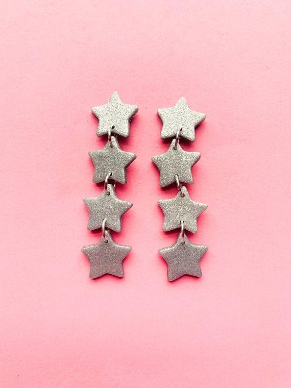 Wildflower Clay Earrings- 4 drop Baby Penelope in Silver