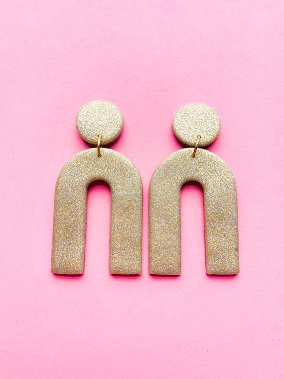 Wildflower Clay Earrings- Everly in Gold