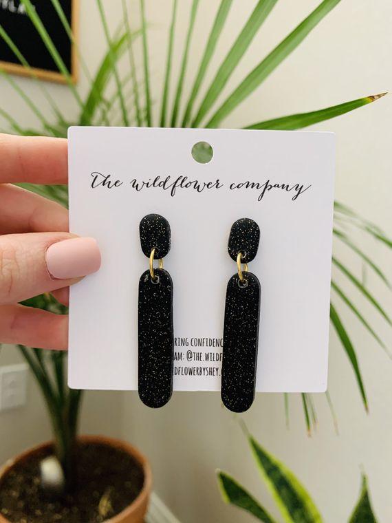 Wildflower Clay Earrings- Ivy in Twinkle Black