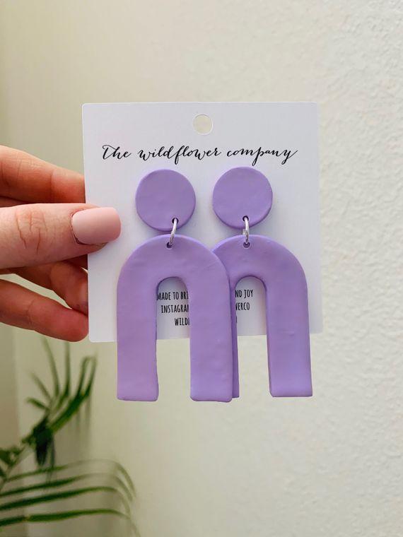 Wildflower Clay Earrings- Everly in Light Purple