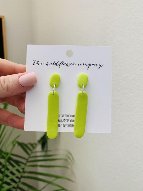 Wildflower Clay Earrings- Ivy in Neon Green