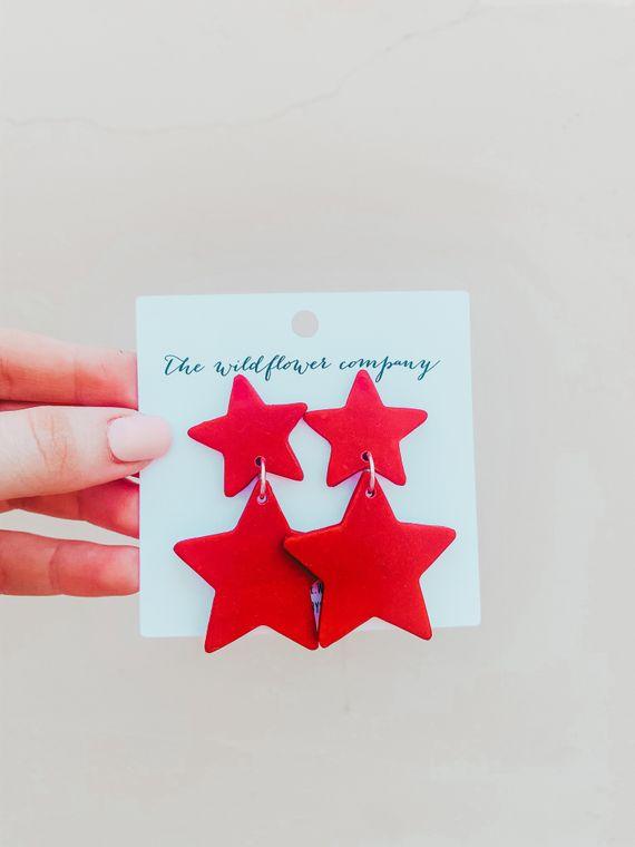 Wildflower Clay Earrings- Penelope in red