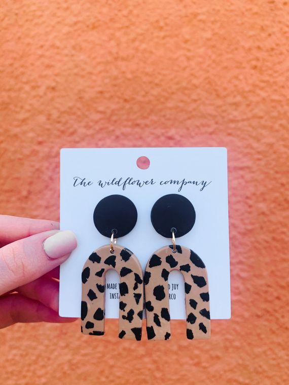 Wildflower Clay Earrings- Mini Everly in Leopard Print
