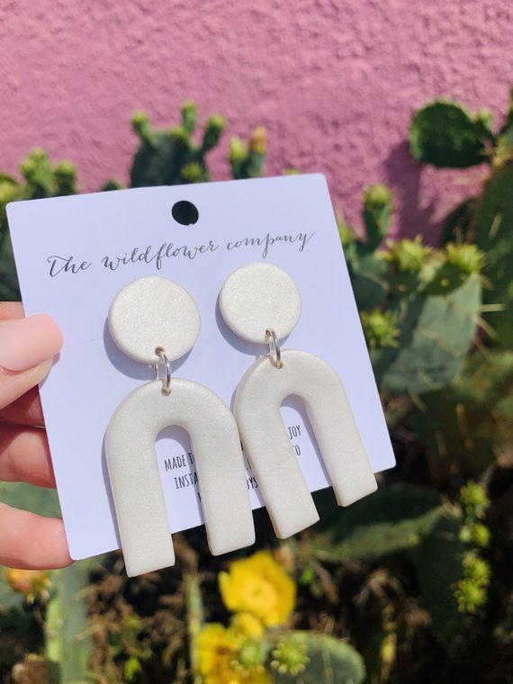 Wildflower Clay Earrings- Mini Everly in Pearl