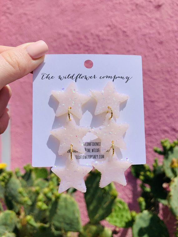 Wildflower Clay Earrings- 3 drop penelope in opal