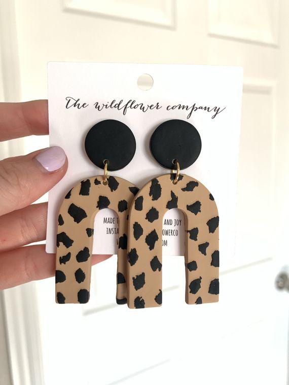Wildflower Clay Earrings- Everly in Leopard