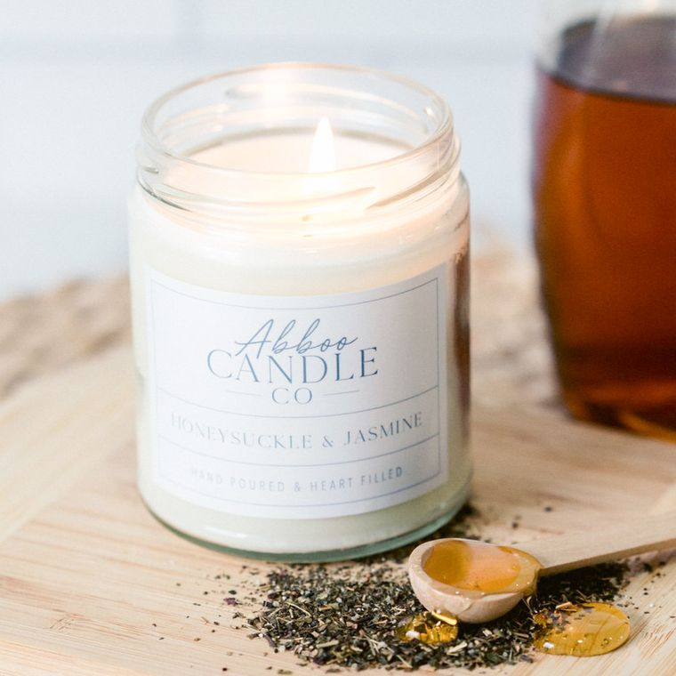 Honeysuckle & Jasmine Soy Candle by Abboo Candle Co