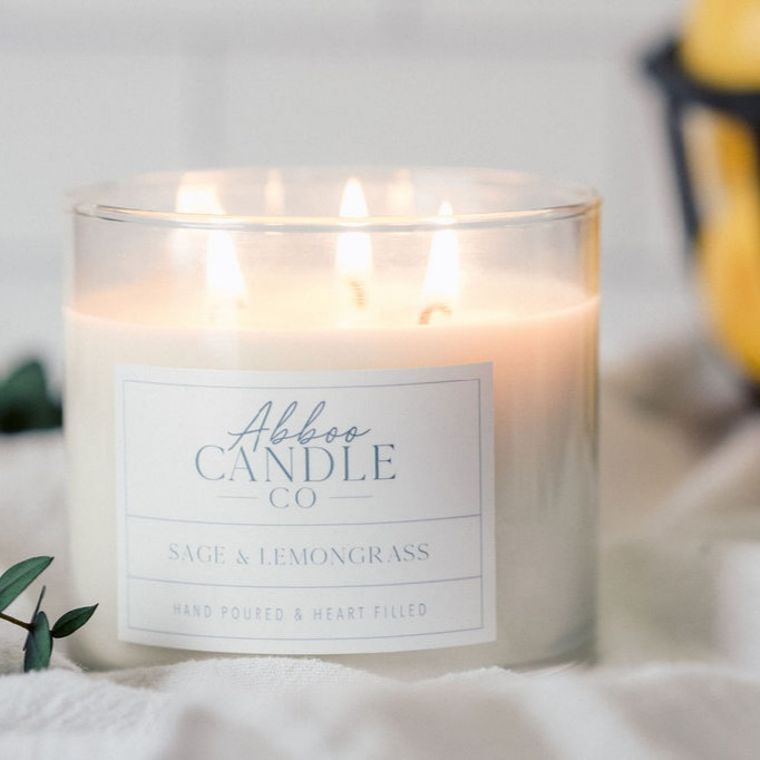 Sage & Lemongrass 3-Wick Soy Candle by Abboo Candle Co