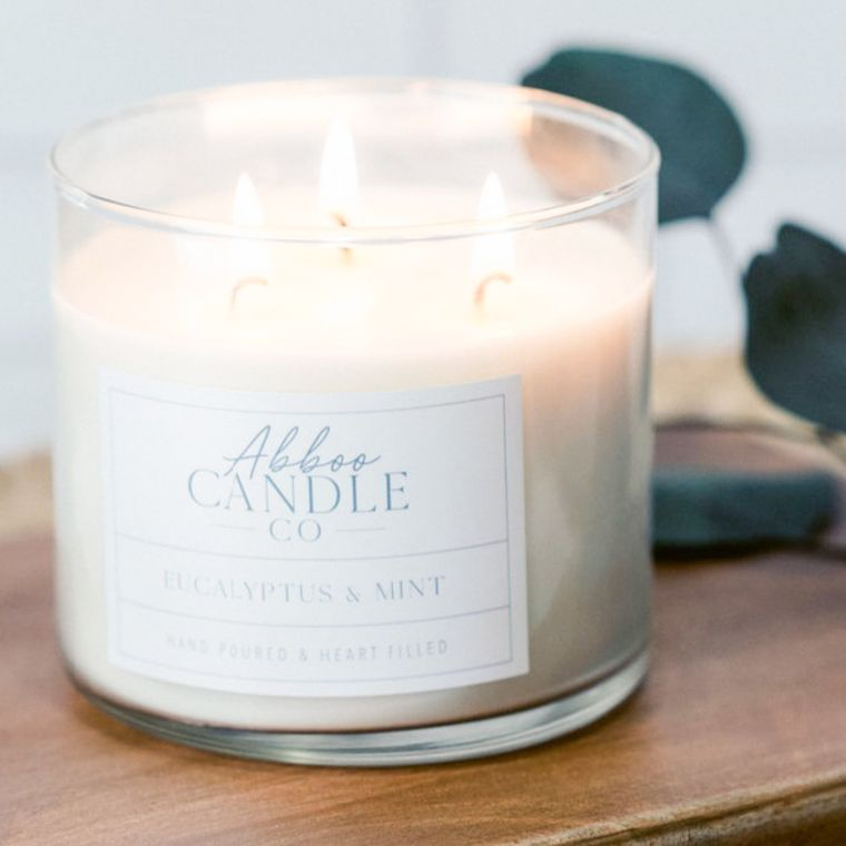 Eucalyptus & Mint 3-Wick Soy Candle by Abboo Candle Co