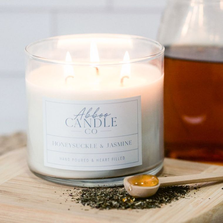Honeysuckle & Jasmine 3-Wick Soy Candle by Abboo Candle Co
