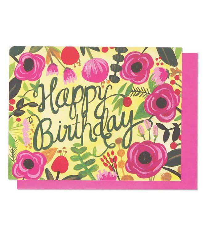 Happy Birthday Floral Single Card