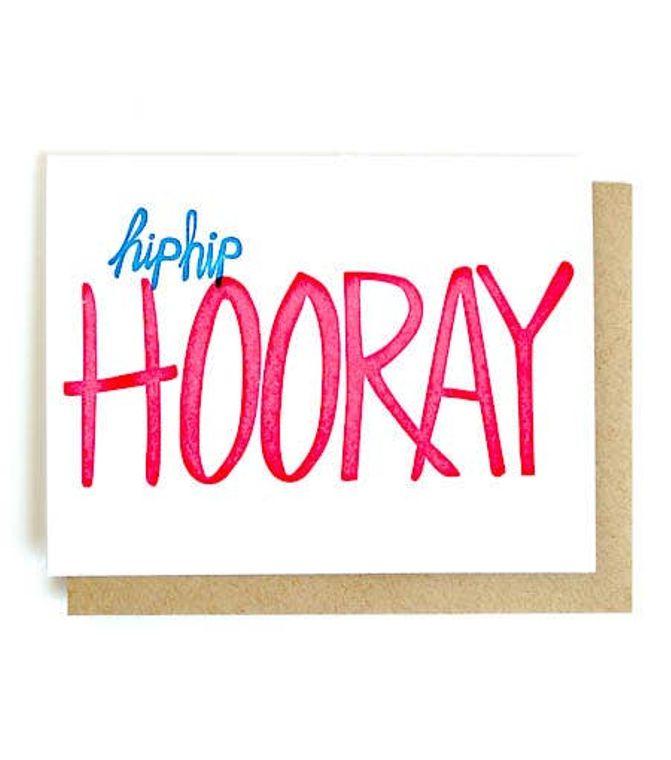 Hip Hip Hooray Single Letterpress Card