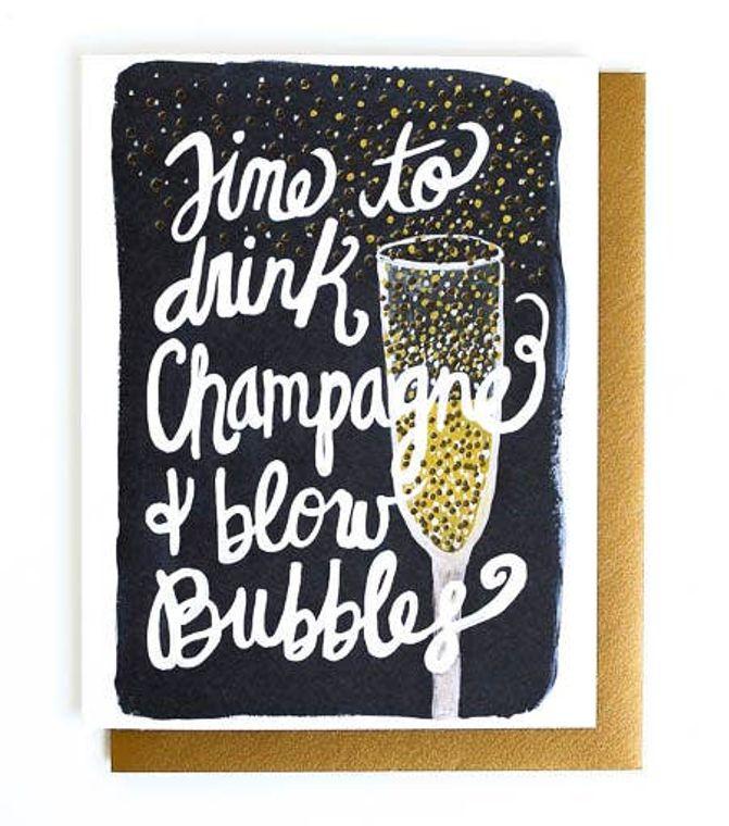 Champagne & Blow Bubbles Letterpress Greeting Card