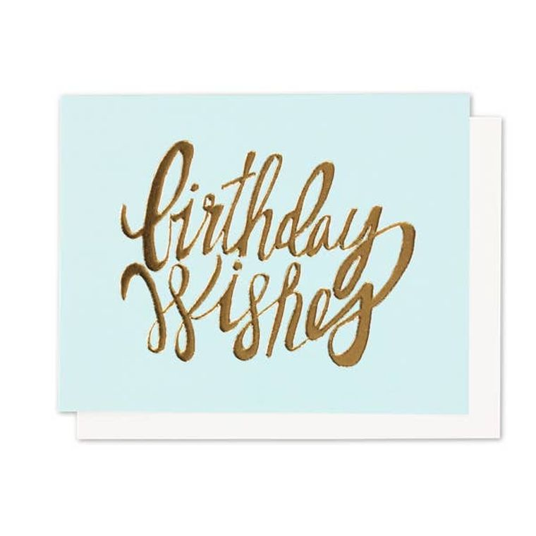 Birthday Wishes Gold Foil + Emboss Greeting Card