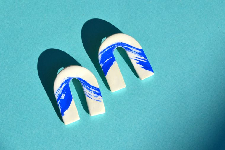 Blue Wave Clay Arches Earrings