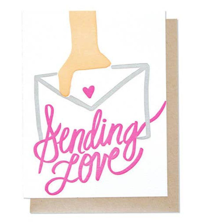 Sending Love Single Letterpress Card