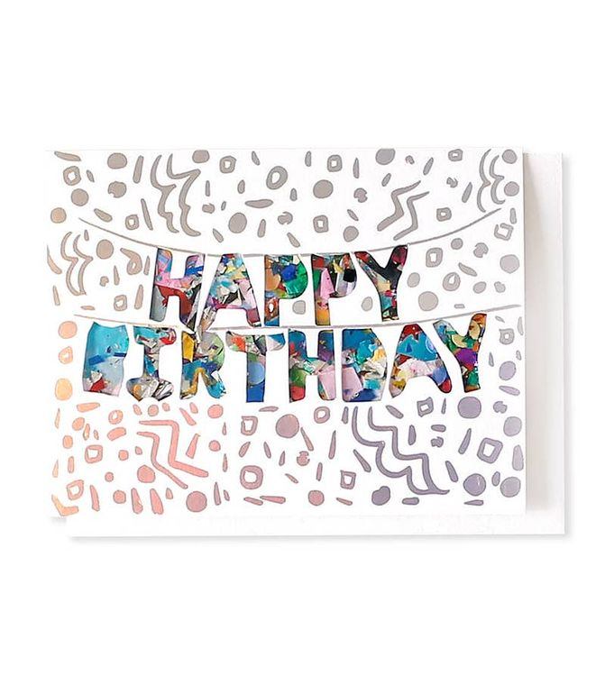 HBD Balloons Confetti-Filled & Holographic Foil-Stamped Card
