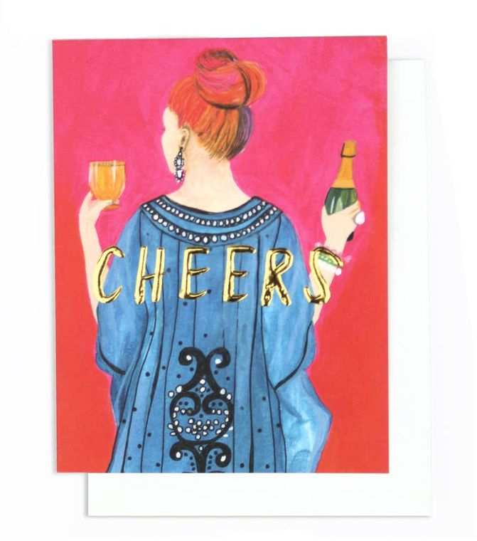 Tiffany Cheers! Single Gold Foil + Embossed Card