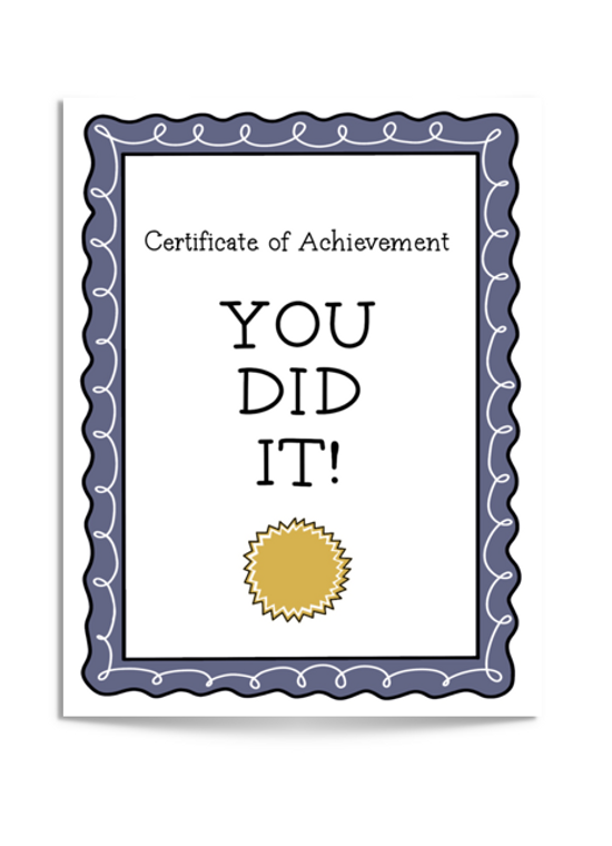 you did it certificate card