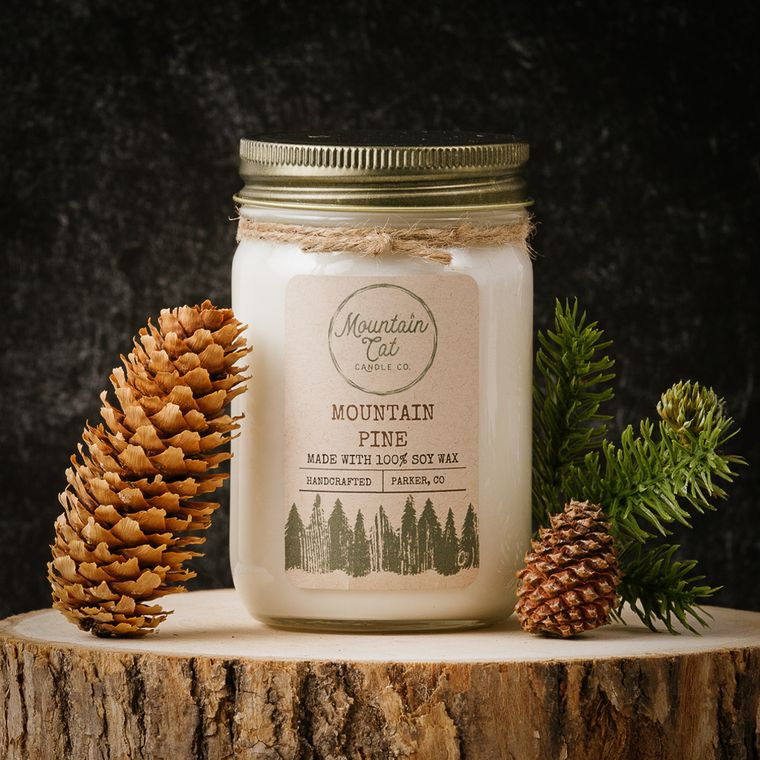 Mountain Pine - 12oz Large Rustic Jar Soy Candle