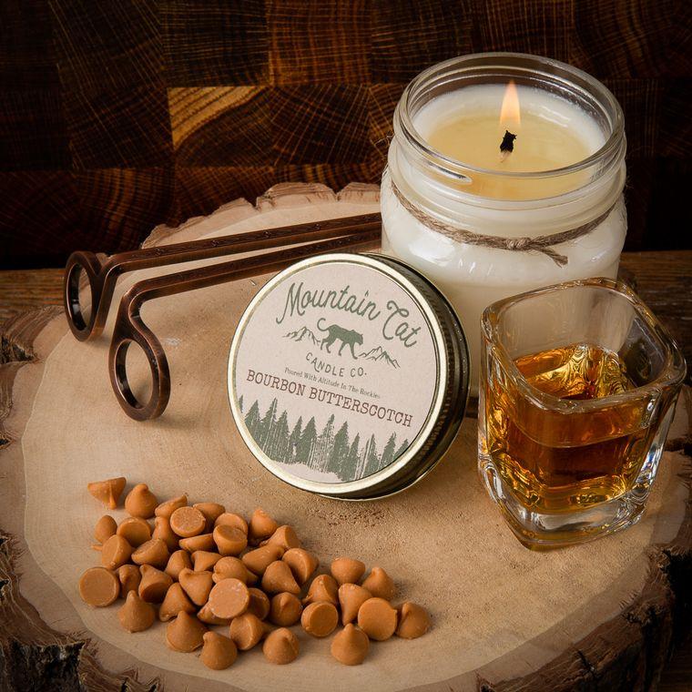Bourbon Butterscotch - 8oz Rustic Mason Jar Soy Candle