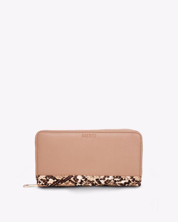 Carrie Bifold Vegan Leather Wallet Beige