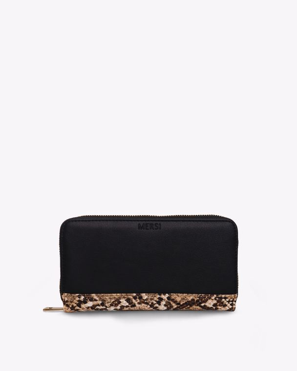 Carrie Bifold Vegan Leather Wallet Black