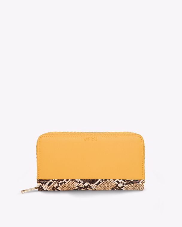 Carrie Bifold Vegan Leather Wallet Yellow