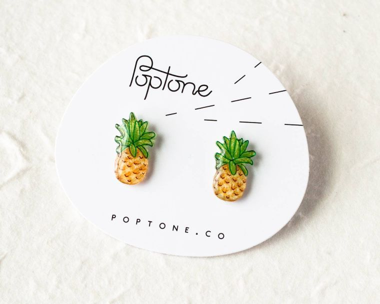 Pineapple Fruit Stud Earrings