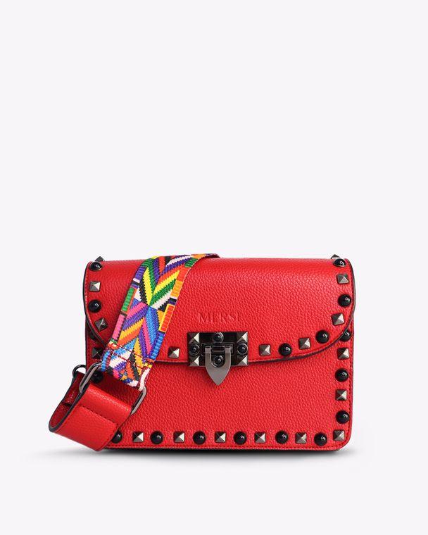 Ruby Vegan Leather Crossbody Red