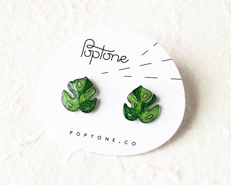 Monstera Tropical Leaf Earrings