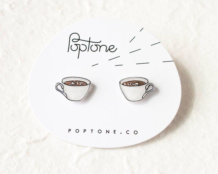 Coffee Latte Stud Earrings
