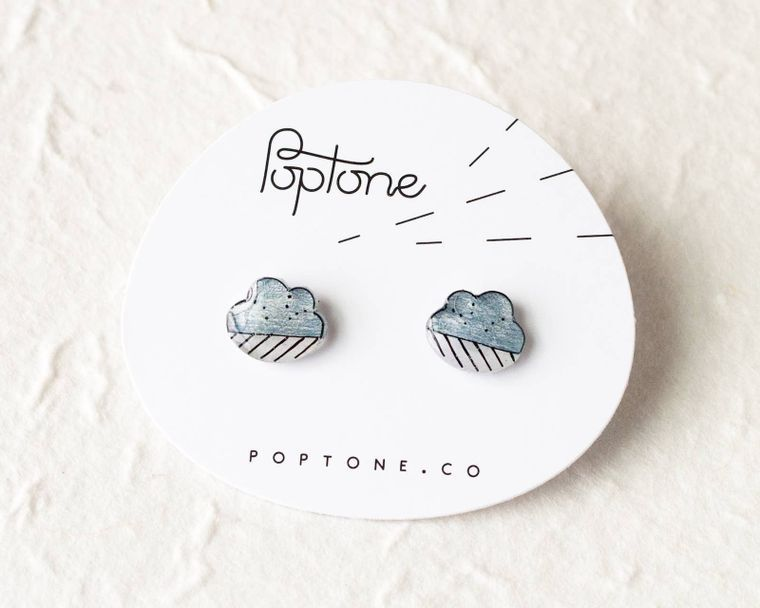 Cloud / Rain Earrings