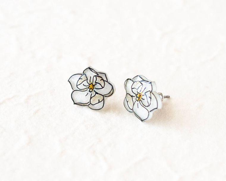 Magnolia Flower Earrings