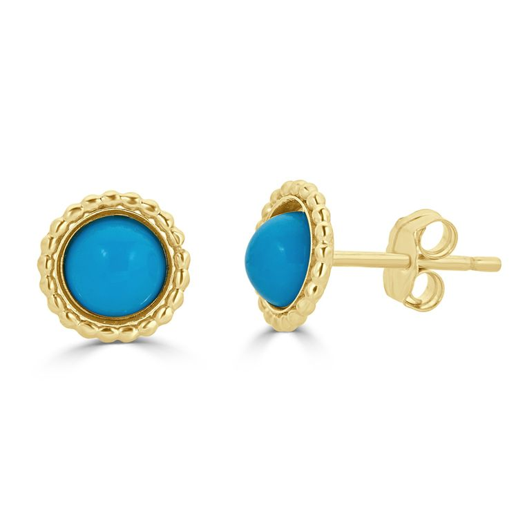 Sleeping Beauty Turquoise Stud Earrings Gold-Filled with Rope Accents (6 MM)