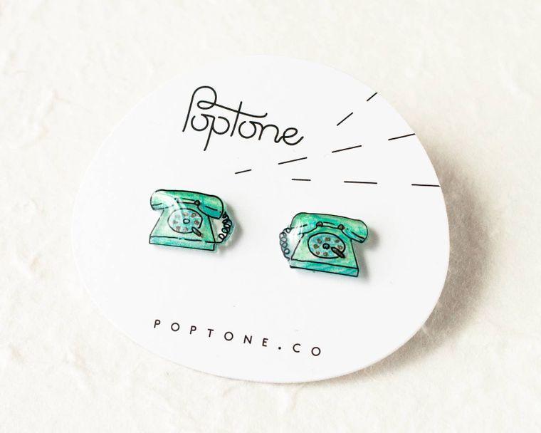 Retro Phone Green Earrings