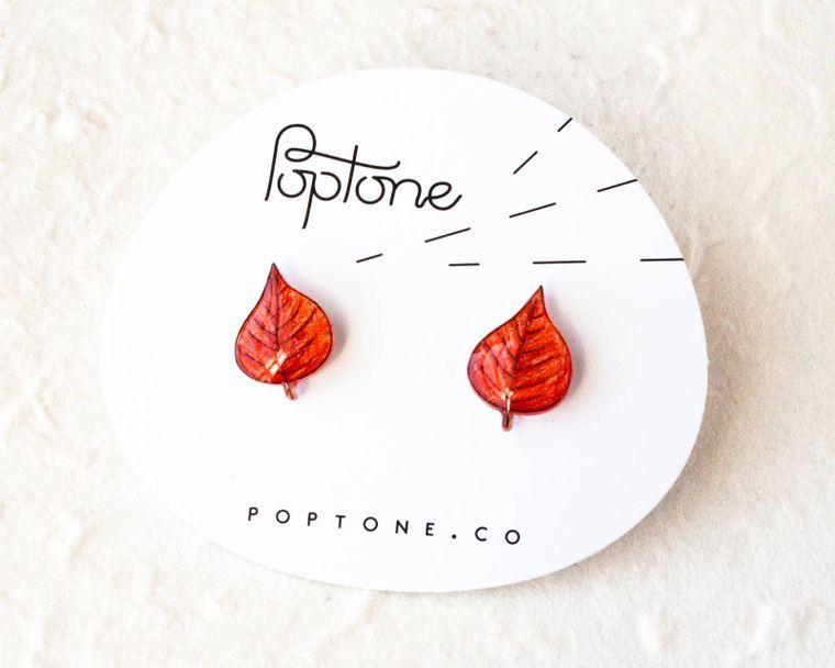 Red Autumn Leaf Earrings