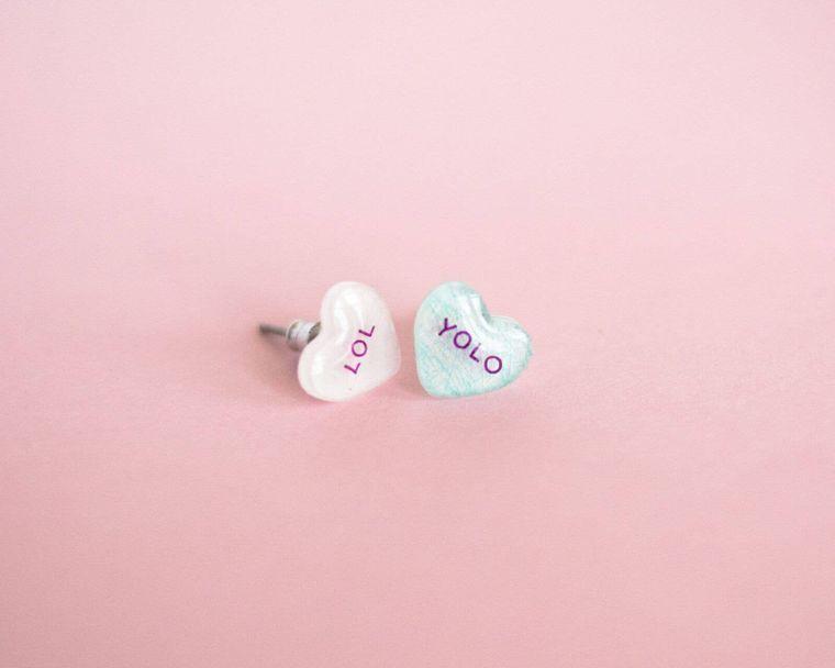 Valentine Candy Heart Earrings: Lol + Yolo