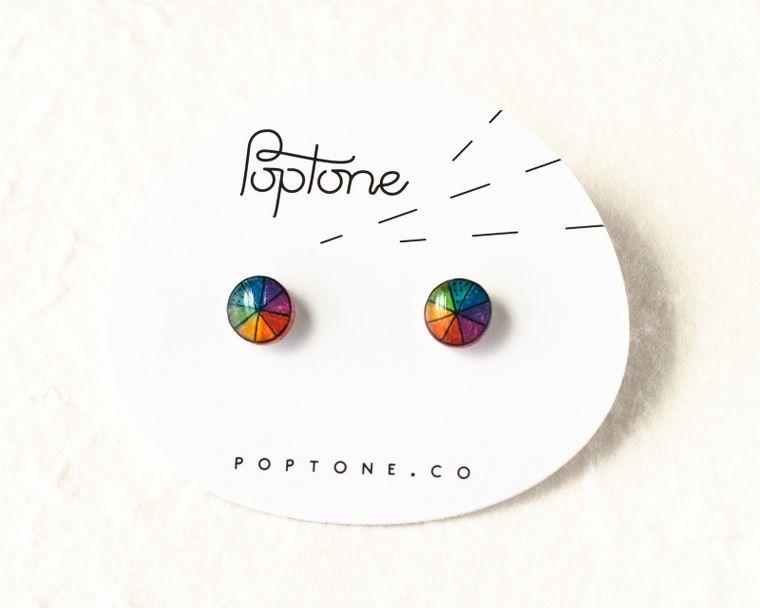 Color Wheel Rainbow Stud Earrings