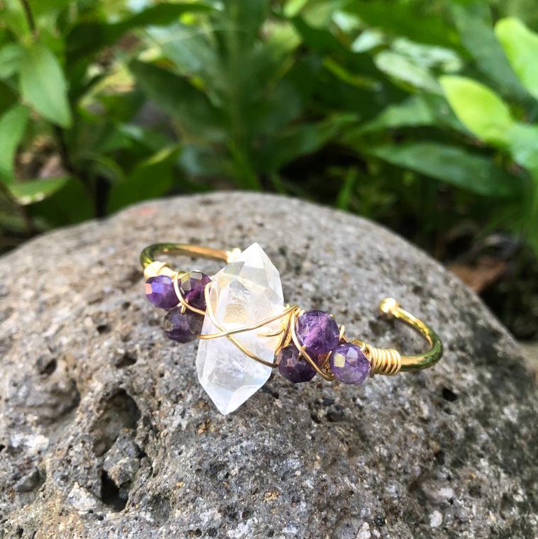 "Crystal Quartz & Amethyst Gemstone Gold Bangle Cuff Bracelet  ~ ""Spiritual Awareness & Protection"""