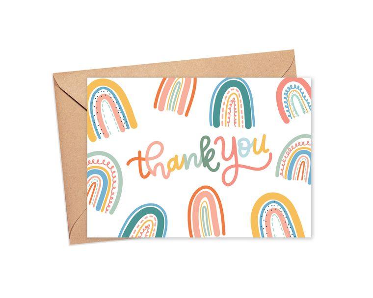 Thank You Boho Rainbow Greeting Card