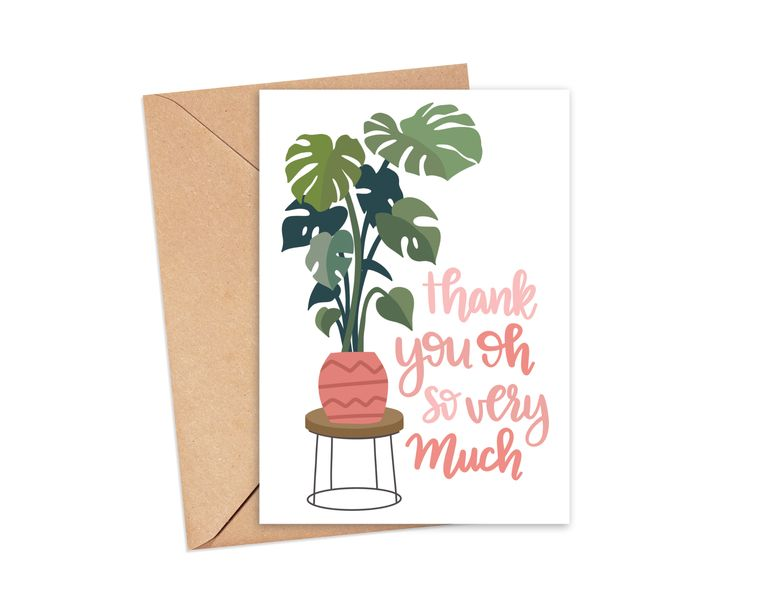 Thank You So Much Monstera Plant Greeting Card