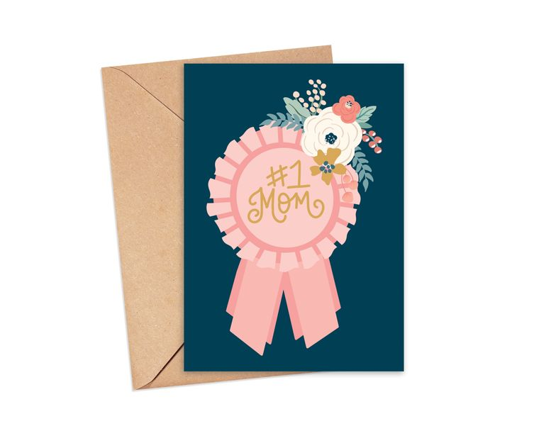 Number One Mom Ribbon Greeting Card