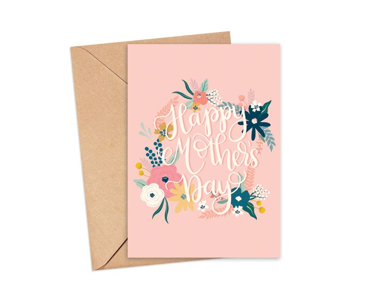 Happy Mother's Day Floral Wreath Greeting Card