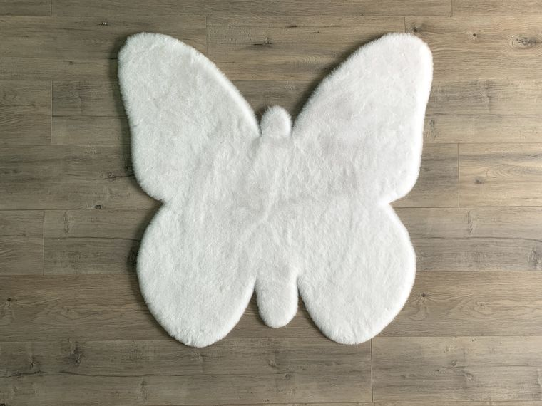 Machine Washable Faux Rabbit Fur Butterfly Area Rug
