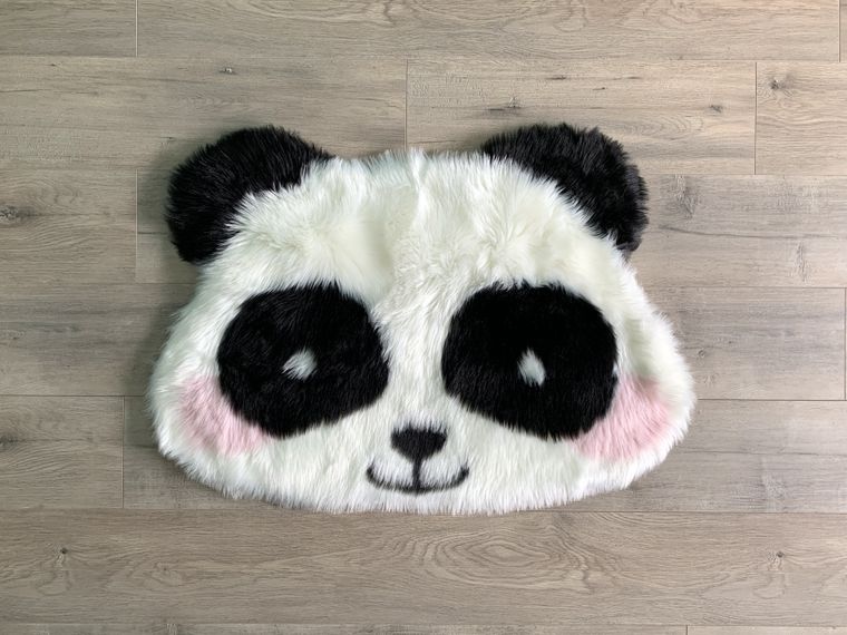 Machine Washable Faux Sheepskin Panda Area Rug